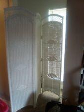 7 ft white wicker 3 panel room divider