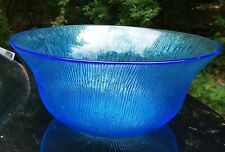 Vtg Textured Blue Glass Serving Bowl. See Pics! Large. Gorgeous & Functional