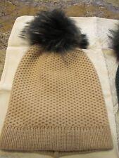 Raffaello Bettini Beige Cashmere Women Real Fox Fur Dyed Pom Pom Hat