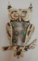 METAL & JEWELS OWL WALL ART DISPLAY ORNAMENT GARDEN INDOORS