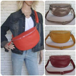 Bauchtasche Umhängetasche Crossbody-Bag Hüfttasche XL echtes Leder Italy-Design