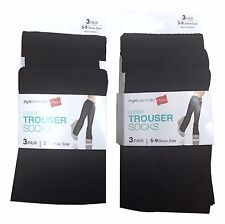 Hanes 6 Pair Black Sheer Knee High Trouser Socks Plain Ribbed Diamond Patterns
