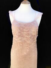 Mango Pink Nude lace Tiered Strappy Mini Cocktail Occasion Dress Size L 14