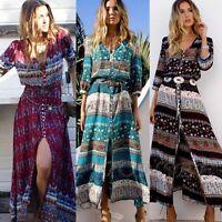 Vintage Women Summer Bohemian Tunic Floral Party Beach Long Maxi Dress Sundress