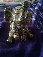 Paper mache~Elephant Figure With Trunk Up~Beautiful Black And Gold color