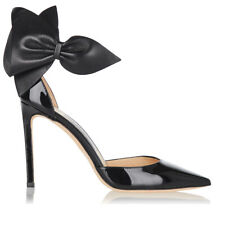 Jimmy Choo KELLEY Bow Pointy Toe Pumps Black Leather Heels Shoes 37.5 Sandals