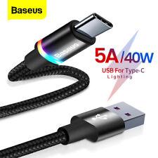 Baseus 2m Typ C Schnell Ladekabel 5A 40W USB C für Huawei Mate 30 20 P40 P30 P20