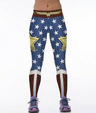 Women Athletic Fitness Pants Wonder Woman Spandex Gym Running Yoga Leggings