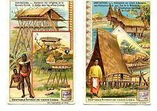 Habitations-Houses-Homes-Vintage Liebig French Advertising Trade Card Lot of 2