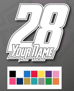 3 X Custom Racing Numbers & Name - Vinyl Stickers/Decals Race Motorbike Mx Track