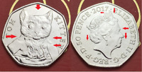 Supper Rare Error 2017 Tom Kitten 50p Fifty Pence coin UNC