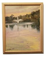 "Stunning Landscape Oil  Painting by Linda Kolar ""Sunset Fountain """