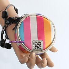 NWT Coach Julia Stripe Round Jewelry Mirror Pouch Case F61657 Multicolor RARE
