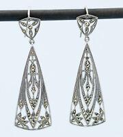 1920 Earrings Art Deco Sterling Silver Marcasite Drop Pendant Antique English