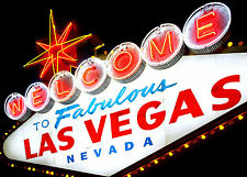 SUPERB RETRO VINTAGE WELCOME TO LAS VEGAS CANVAS #417 QUALITY FRAMED PICTURE