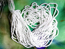 VTG 1 HANK BRIDAL WHITE SEED BEAD CHARLOTTE CUT 13/0 092310i