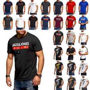 Jack & Jones Herren T-Shirt Kurzarmshirt Logo Print Casual O_Neck Shirt NEU TOP