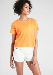 ATHLETA ORGANIC DAILY CROP TEE Size S New without Tags, Orange Creamsicle