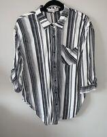 Eden & Olivia by Anthropologie Large Black White button up stripe pocket shirt