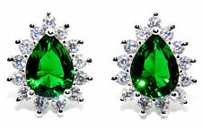 Sterling Silver Emerald And Diamond 2.98ct Pear Cut Stud Earrings (925) Free Box