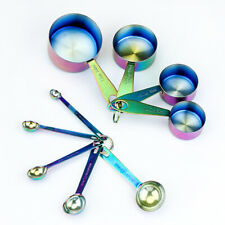 9 Piece Stainless Steel Measuring Cups/Spoon Set Rainbow Iridescent Oil Slick