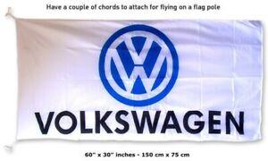 FREE SHIP TO USA VolksWagen VW WHITE FLAG BANNER 3x5 feet beetle cc golf gti