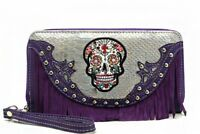 Sugar Skull Wristlet Wallet Purple Fringe with Double Zipper & Wrist Strap New