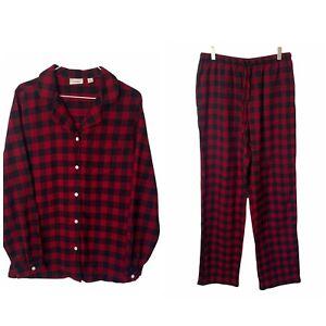 L.L. Bean Red Black Flannel Lumber Jack PJ's Pajamas Pants Shirt M Tall