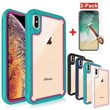 For Apple iPhone X/XS XR XS MAX Shockproof Bumper Clear Back Case+Tempered Glass
