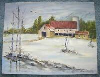 VINTAGE MINIMALIST FOLK ART WINTER SNOW WHITE BARN SILO LANDSCAPE TREES PAINTING