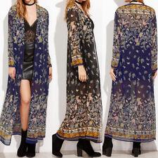ZANZEA 8-24 Women Long Kimono Coat Top Party Beach Cover Up Boho Floral Cardigan