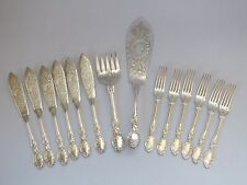 Vintage Silver Plated Fish Cutlery Set With Servers Very Ornate Chased