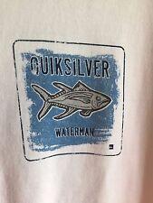 Quiksilver Waterman Tee Shirt Cotton White Men's Large NWOT