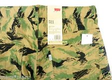 New Mens LEVIS 511 SLIM Chino 31 x 32 FOREST LEAVES beige/green pants leaf camo