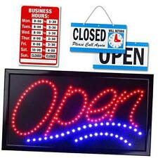 "Neon Open Sign for Business: Jumbo Lighted Sign Open with 24"" x 13"" Model 1"