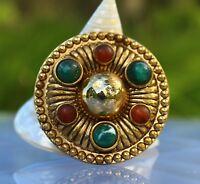 BROOCH , vintage, Celt, cabochons stones, gold-tone metal , ,, ,, ,,,