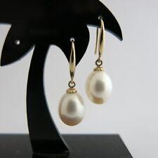 Ohrringe Ohrhänger echte Perlen Weiß Tropfen 9x11mm, Gold 14Kt. / 585er Gelbgold
