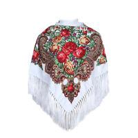 AUTHENTIQUE Foulard Châle à frange Russe en coton Blanc