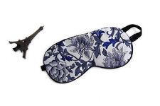 100% Silk Eye Mask Blue and White Floral Print ES1002