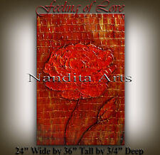 Tree Red Flowers Oil Painting Original knife Textured huge Abstract Art canvas