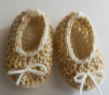 Baby Shoes Booties Handmade Crochet Slipper Newborn Size Tan/Beige Ecru Bows