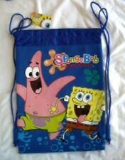 Blue SpongeBob SquarePants Drawstring Backpack Kid's Sling School Tote Bag New