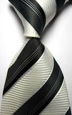 New Classic Stripes White Black JACQUARD WOVEN 100% Silk Men's Tie Necktie