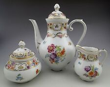 Rare Schumann Dresden Empress Teapot Tea Coffee Set Dresden Flowers 1945-1952