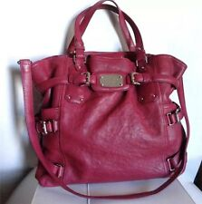 $498 MICHAEL KORS Gansevoort Pink Leather Signature NS Hobo Tote Bag Purse Large