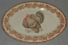 Gooseberry Patch Thanksgiving Table Theme Oval Serving Platter Turkey Motif