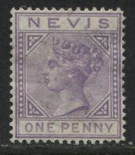 Nevis QV 1880 1d violet unused no gum