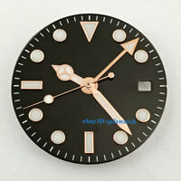 28.5mm sterile black Dial+Rose Gold GMT Hands fit DG3804 movement(dial+hands)