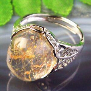 Copper Wrap Natural Gold Rutilated Quartz Oval AdjustablePendant Ring B50661