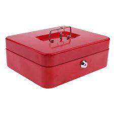 Lockable Cash Box Deposit Slot Cash Money Box Safe with 2 Key Portable Red